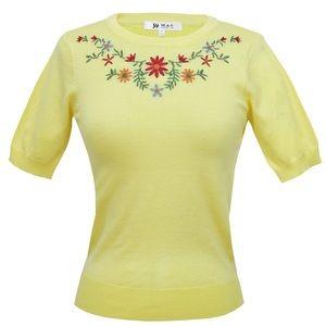 Retro MAK Yellow Floral Sweater